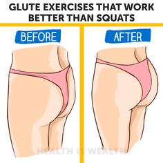 Glute Exercises That Work Better Than Squats Glute Exercises, Fitness Exercises, Yoga Fitness, 30 Day Fitness, Fitness Goals, Fitness Diet, Health Fitness, Workout Progress, 30 Day Workout Plan