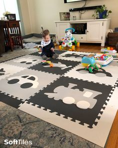 SoftTiles Transportation Theme Play Mat is a fun play mat for a boy's nursery or playroom. This lighter colored set is great for neutral colored rooms. #playroom #nursery #nurserydecor #kidsroom #playroomdecor #softtiles #playmat #foammats #babyshowergift