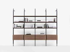 Wallsystem Jack -B&B Italia - Design of Michael Anastassiades Renzo Piano, Jack B, Italia Design, Deep Shelves, Book Shelves, Shelf System, Floor Ceiling, Modern Shelving, Milan Design