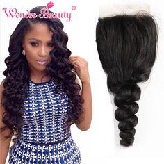 Cheap Brazilian Virgin Hair Loose Wave Lace Closure 12-20 Inch  Natural Black 4x4 Free Part Best Top Lace Closure
