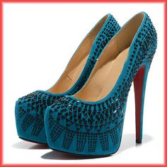 Hottest design women shoes ,fashion high heel 2013. Turquoise with black jewelry #platform pumps #red soles
