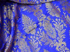 Royal Blue Brocade Fabric, Banarasi Silk Fabric Indian Silk, Wedding Dress Fabric, Banarasi Silk Fabric by the Yard, Banarasi Fabric