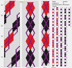 Argyle bead crochet rope (15 beads around)
