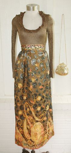 Gold Rush - Circa 1970's - Cocktail Dress - Evening Gown - Prom - Wedding - by Pat Richards