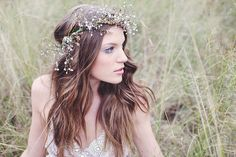 bohemian look with flower halo