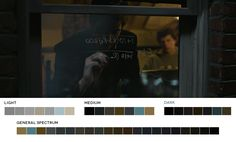 Colour palette from a scene from David Fincher's,The Social Network, 2010 Cinematography: Jeff Cronenweth... check out this blog, chock full of colour palettes from the moofies!!!