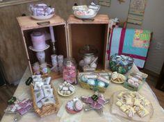Bath bombs, handmade soaps, candles, and handkerchiefs