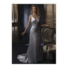 Modern A-line V-Neck Satin Wedding Dress