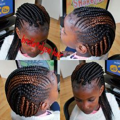 small box braids with cornrows on the side