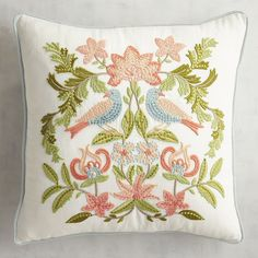 """Embrace your romantic nature with two lovebirds embroidered in sentimental pastels sure to bring a touch of """"home sweet home"""" to your abode. What a special wedding or anniversary gift idea this is—just what every love nest needs."""
