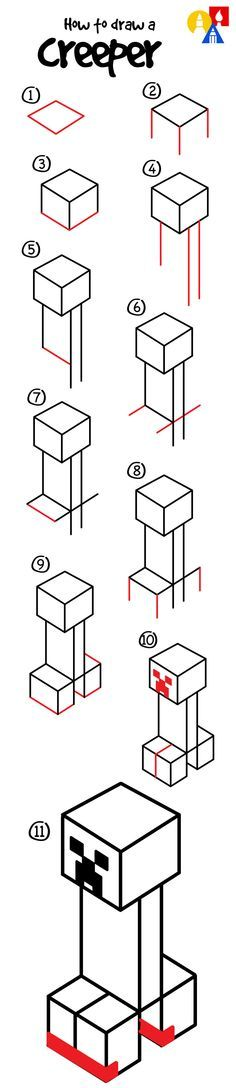 How to draw a creeper from Minecraft!
