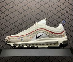 ce402433a2 Nike Air Max 97 Paint Splatter Color: Sail/Amarillo/University Red/Black