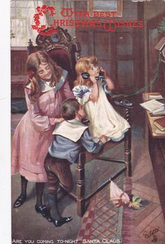 Kids on Telephone,Are you Coming To-Night Santa Claus? , Christmas, TUCK PU-1907