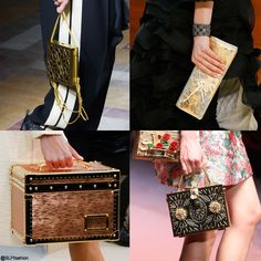 Trendy bag style for FW 2015: Vintage antique bag. Vintage antique metallic gold bag. Lanvin, Chanel, Louis Vuitton, and Dolce and Gabbana Fall Winter 2015.