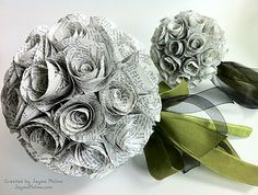 Paper Bouquets...I've heard where girls are carrying a bible with them down the aisle, but if it were me, I'd like to print off passages of the Bible or maybe good quotes and mix in some red roses into this