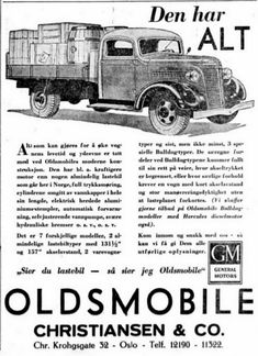 Oldsmobile Lastebiler GM Christiansen & Co, Chr. Oslo, Trucks, Ads, Truck, Track