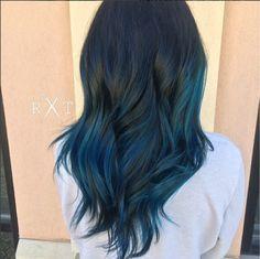 Black and blue balayage ombre hair by Rachel at Avante on Main Street Salon, Exton PA                                                                                                                                                                                 Más