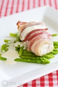 Monk Fish Wrapped w/ pancetta on top of asparagus. (can use other types of fish)