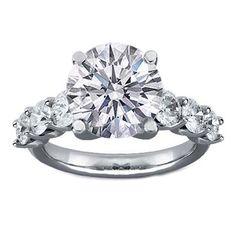 Six Diamond Engagement Ring U Prong Platinum http://girlyinspiration.com/
