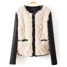 Faux Fur Splicing Fashionable Round Neck Long Sleeve Women's Jacket #jewelry, #women, #men, #hats, #watches, #belts, #fashion