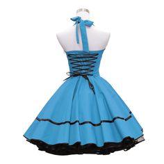 Petticoatkleider - 50er Jahre Kleid türkis mit Schnürung #utüs 05 - ein Designerstück von lolablossom bei DaWanda