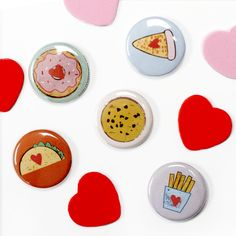 Tasty snack buttons by People Power Press Power To The People, Yummy Snacks, Macarons, Badges, Tasty, Buttons, Macaroons, Badge, Knots