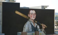 "The Cobbler's Apprentice Plays Ball  This mural was inspired by one of Cincinnati's most treasured painters Frank Duveneck and one of his most beloved paintings,   ""The Cobbler's Apprentice.""  The artists reinterpreted the original painting with a twist by adding a baseball bat, drawing inspiration from the proximity to the nearby riverfront stadium and Cincinnati's important role in the history of baseball as the first professional American team."