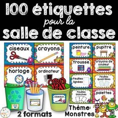 Classroom Supply Labels French - étiquettes pour la c Classroom Labels, Classroom Supplies, Classroom Displays, Classroom Ideas, French Classroom Decor, French Flashcards, Supply Labels, Core French, French Education