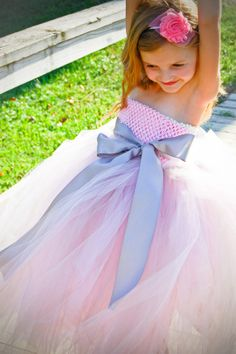 Pink and Grey Flower Girl or Pageant Tutu Dress by PoshPixieTutu, $69.99