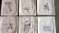 These are my awesome roller derby napkins.  Mom and Dad gave me the embroidery patterns from Sublime Stitching (my fave) for my birthday.