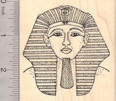 Egyptian King Tut Rubber Stamp, Pharaoh Egyptian Tutankhamun (L913) $13 at RubberHedgehog.com