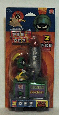Pez Dispensers Looney Tunes Rare Marvin The Martian Battery Operated NIP - Marvin literally takes a candy out of his rocket ship and hands it to you!