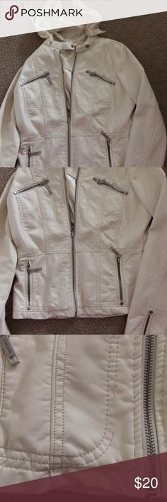 Cream color jacket I bought this but never wore it.  Slight stitching missing by pocket.  Not sure why cause it is like new.  Third picture shows it.  A teenager or a cool mom can wear this 😃 Jou Jou Jackets & Coats