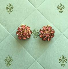 Pink Kramer Rhinestone Earrings by downtowndarling on Etsy