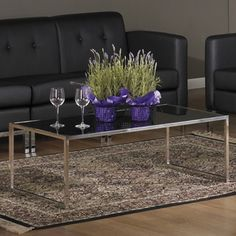 Glass/ Chrome Reinforced Metal Base Coffee Table   Overstock.com Shopping - The Best Prices on Office Star Products Reception Tables