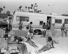 Santa Monica Beach Camper with People, 1977.