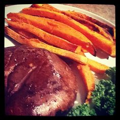 "Baked Sweet Potato ""Fries"" and a juicy Portobello Mushroom Steak creeping into the picture. #GagnezENERGY"