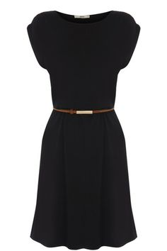 This simple stretch dress has a cap sleeve and a scoop neckline. With a belt to cinch in the waist, this is the perfect transitional piece for the new season.