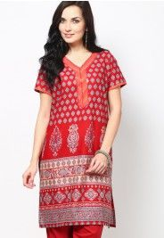 Red Solid Cotton Kurta