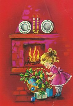 red christmas, a girl and a fireplace | par Paicil