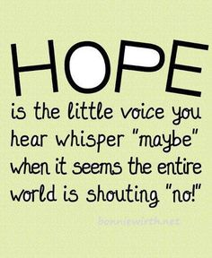 "Hope is the little voice you hear whisper ""maybe"" when it seems the entire world is shouting ""no!"""
