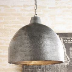 Hammered iron in this oversized dome pendant makes a big impact for industrial style in your space. The darkened aged Steel finish inside and outside, glows with warm light when illuminated as medium base chain, of canopy Farmhouse Pendant Lighting, Large Pendant Lighting, Industrial Pendant Lights, Kitchen Pendant Lighting, Kitchen Pendants, Chandelier Lighting, Industrial Style Lighting, Ring Chandelier, Gold Pendants