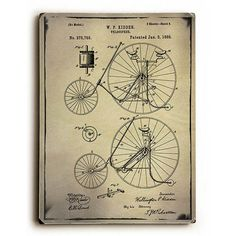 Bicycle Patent by GI ArtLab Wood Sign