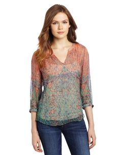Lucky Brand Women's Sara Deco Royal Top $99