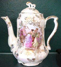 E.S. Prussia Allegorical Portrait Lustre Tea Set