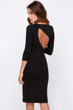 LULUS Exclusive Closing Time Black Midi Dress at Lulus.com!