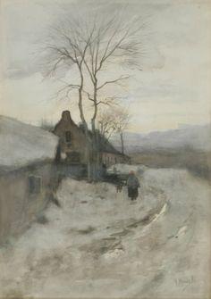 blastedheath:  Anton Mauve (Dutch 1838-1888).    Winter in Laren, Holland. Watercolour, 19 x 13½ in.