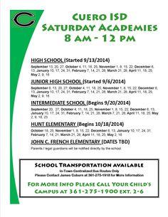 Cuero ISD Saturday Academies for 2014-2015