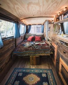 Couch / bed. Bed turns into couch. More room for kitchen. Love his floor plan for van life.