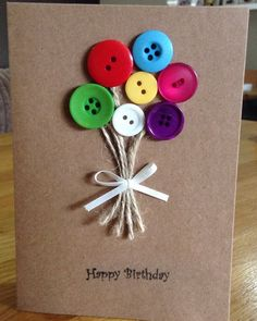 Items Similar To Handmade Button Cards On Etsy Creative Birthday CardsIdeas